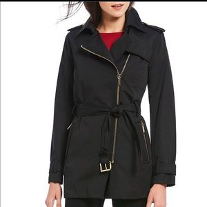 Michael Kors Asymmetrical Belted Trench Coat
